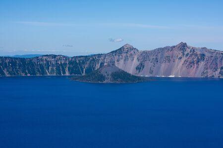 Beautiful view of Wizard Island in Crater Lake, Oregon.