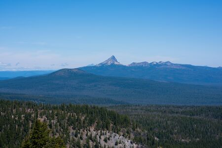 Beautiful overlook of Mount Thielsen from Crater Lake Rim Drive