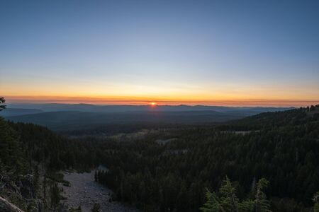 Beautiful sunset from Crater Lake National Park in Oregon Stock fotó