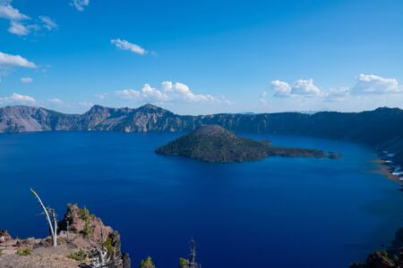 Beautiful view of Crater Lake from Merriam Point in Oregon