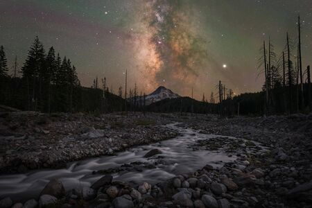 Milky Way Galaxy and Hood Mountain as seen from the Eliot Branch near Laurance Lake