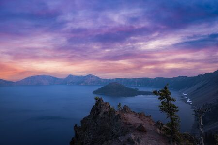 Crater Lake and Wizard Island at sunset from Merriam Point.