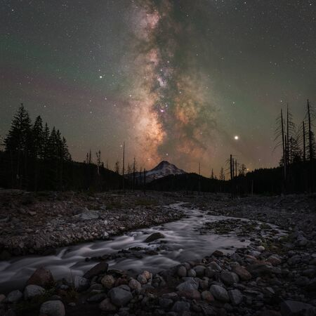 Milky Way Galaxy over Eliot River Branch leading towards Hood Mountain