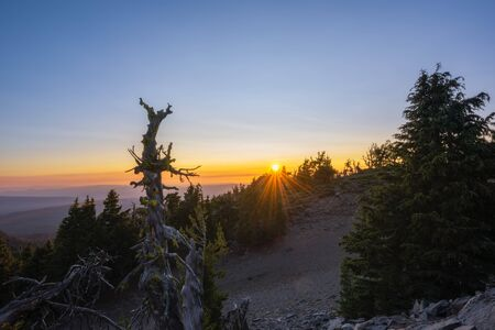 Beautiful sunset from Crater Lake National Park atop Hillman Peak