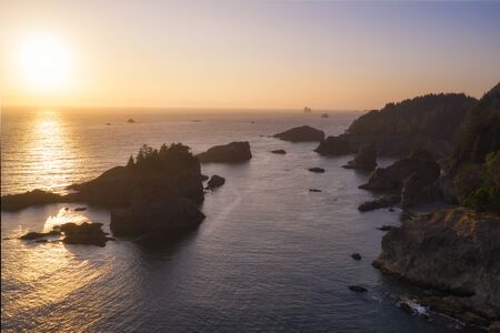 Beautiful sunset over the Pacific Ocean along the Oregon Coastline at the Scenic Corridor.