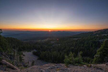 Beautiful view of Crater Lake National Park at sunset in Oregon