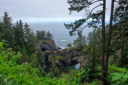 Beautiful view of natural rock bridges along the Oregon Coastline