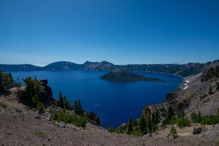 Beautiful view of Crater Lake and Wizard Island in Oregon