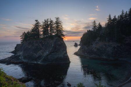 Beautiful sunset at a cove in Oregon near Secret Beach