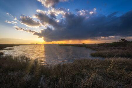 Sunset at Back Bay National Wildlife Refuge in Virginia Standard-Bild