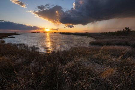 Sunset over the marsh at Back Bay Wildlife Refuge in Virginia