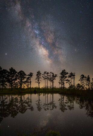 Milky Way Galaxy Reflections at Mackay Island Wildlife Refuge in North Carolina Standard-Bild