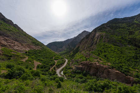 Winding road passing through a valley in Wasatch National Forest