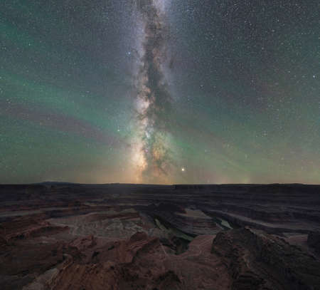 Milky Way Galaxy rising over Dead Horse State Park in Moab Utah