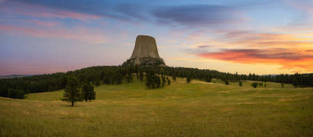 Colorful sunrise at Devils Tower in Wyoming Stock fotó