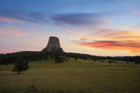 Vibrant sunrise at Devils Tower in Wyoming Stock fotó