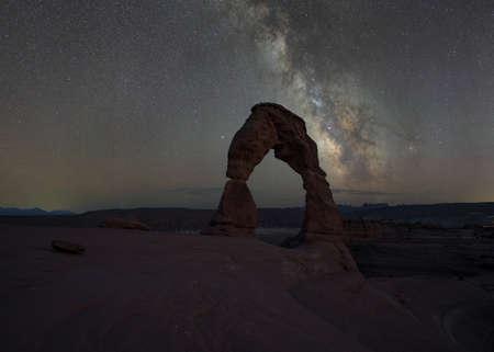 Milky Way galaxy rising behind Delicate Arch in Moab Utah