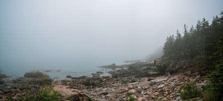 Fog rolling in along the Acadia National Park coastline
