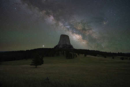 Milky Way Galaxy rising over Devils Tower in Wyoming