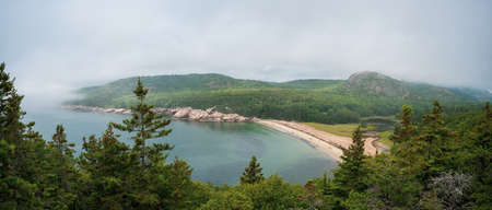 Panorama of Sand beach overlook from Great Head Trail in Acadia National Park, Maine