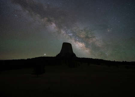 Silhouette of Devils Tower and the Milky Way Galaxy in Wyoming
