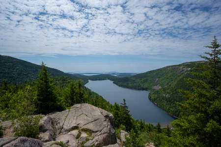 Daytime image from North Bubble of Jordan Pond at Acadia National Park