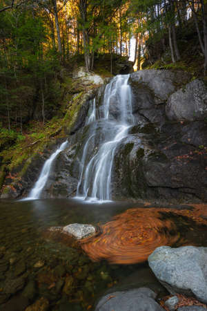 Whirlpool of autumn leaves at Moss Glen Falls in Granville Vermont