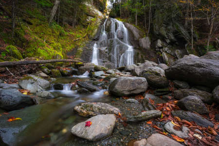 Autumn colors at Moss Glen Falls in Granville Vermont