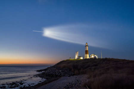 SpaceX rocket launch visible from Montauk Point Lighthouse in New York