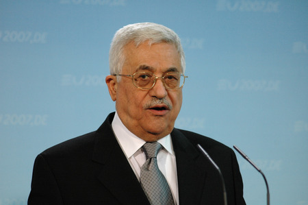palestinian: FEBRUARY 23, 2007 - BERLIN:  the President of the Palestinian National Authority Mahmud Abbas (Fathah) speaks during a meeting with the German Chancellor in the German Chanclery, Berlin. Editorial