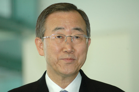 united nations: DECEMBER 7, 2006 - BERLIN: Secretary-General of the United Nations Ban Ki-Moon at a meeting with the German Chancellor in the Chanclery in Berlin.
