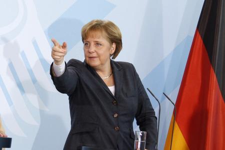 7. Februar 2008 - BERLIN: Bundeskanzlerin Angela Merkel auf einer Pressekonferenz nach einem Treffen mit dem Premierminister der Vereinigten Arabischen Emirate, Chanclery, Berlin. Editorial