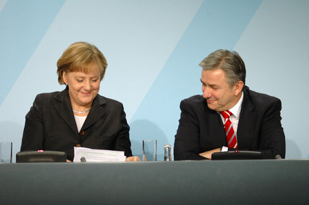 klaus: DECEMBER 19, 2007 - BERLIN: Chancellor Angela Merkel and Klaus Wowereit during a press conference in the Chanclery in Berlin. Editorial