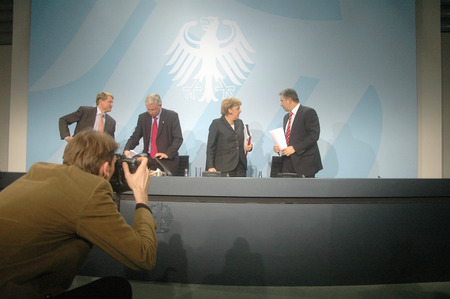 klaus: DECEMBER 19, 2007 - BERLIN: Ulrich Wilhelm, Roland Koch, Chancellor Angela Merkel, Klaus Wowereit after a press conference in the Chanclery in Berlin.