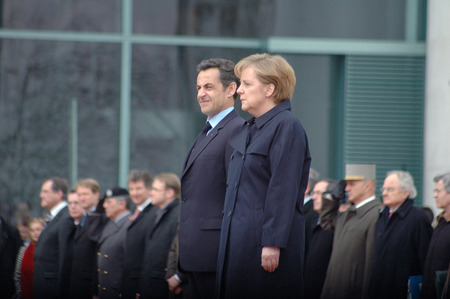 profil: MARCH 12, 2009 - BERLIN: Nicolas Sarkozy, Angela Merkel during a reception with military honors at the Chanclery in Berlin.