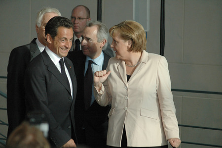 elected: MAY 16, 2007 - BERLIN: German Chancellor Angela Merkel with French President Nicolas Sarkozy at the first offical visit of the newly elected French President in Germany, Chanclery, Berlin.