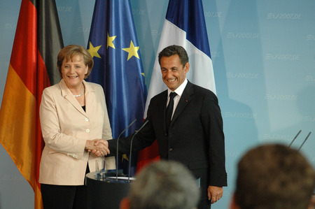 nicolas: MAY 16, 2007 - BERLIN: German Chancellor Angela Merkel with French President Nicolas Sarkozy at the first offical visit of the newly elected French President in Germany, Chanclery, Berlin.