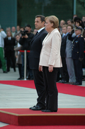 elected: MAY 16, 2007 - BERLIN: Nicolas Sarkozy, Angela Merkel during the first state visit of the newly elected French president in Germany, Chanclery, Berlin.