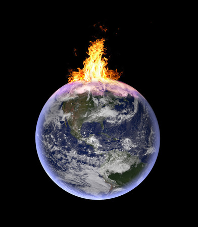 embers: planet earth catching fire: symbolic image for global warming, exploitation of natural resources, environmental crisis - CGI of planet earth in space. Elements of this image furnished by NASA.