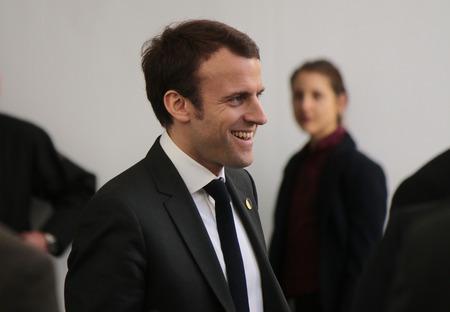 Emmanuel Macron - deutsch-franzoesische Regierungskonsultationen, Bundeskanzleramt, 31. Maerz 2015 in Berlin. Editorial