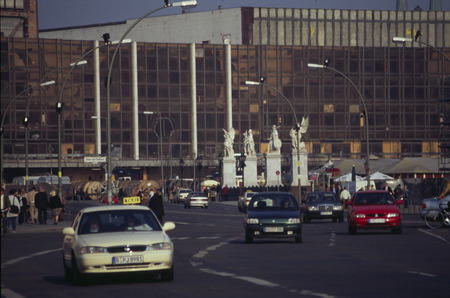 """streetscene: April 2003 - BERLIN: the  """"Palace of the Republic """" (Palace of the Republic) at the Boulevard  """"Unter den Linden """" in the middle district of Berlin. Editorial"""