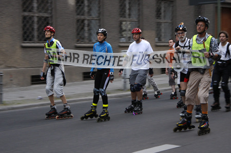rollerblades:  More rights for skaters  - Demonstration of skaters July 18, 2008, Berlin-Mitte. Editorial