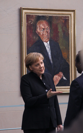 diplomatic: BKin Angela Merkel, in the background a portrait their Amtsvorgaengers Konrad Adenauer - Reception of the Diplomatic Corps by the Chancellor, Chancellor's Office, 18 February 2008 Berlin-Tiergarten.
