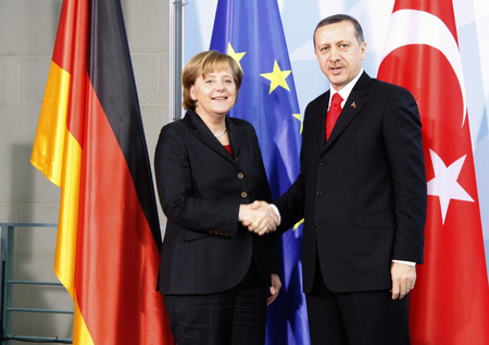 recep tayyip erdogan: BKin Angela Merkel, Recep Tayyip Erdogan -. Meeting of the German Chancellor with the Turkish MP on 8 February 2008, the Federal Chancellery, Berlin-Tiergarten. Editorial