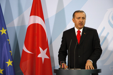 Recep Tayyip Erdogan -. Treffen der Bundeskanzlerin mit dem türkischen MP am 8. Februar 2008, das Bundeskanzleramt, Berlin-Tiergarten. Editorial