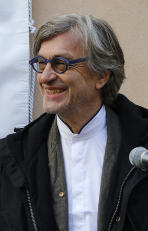 unveiling: Wim Wenders - unveiling a commemorative plaque for Horst Buchholz, 4th December 2014 in Berlin. Editorial