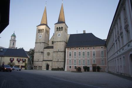 berchtesgaden: Koenig Royal Castle with collegiate and Palace Square, Berchtesgaden, Bavaria.