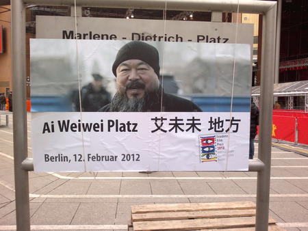 wei: the Marlene Dietrich Platz in front of the Berlinale Palast was renamed Ai Wei Wei court, Impressions - Berlinale 2012, January 2012, Berlin.