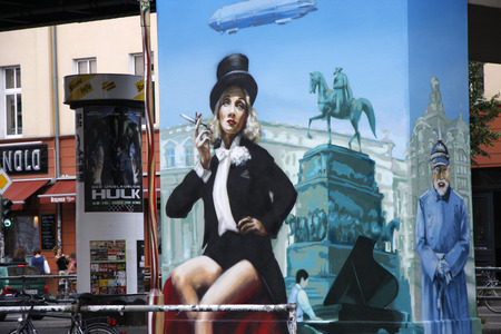 prenzlauerberg: JULY 2008 - BERLIN: a Murial showing Marlene Dietrich, Schoen Allee, Berlin.
