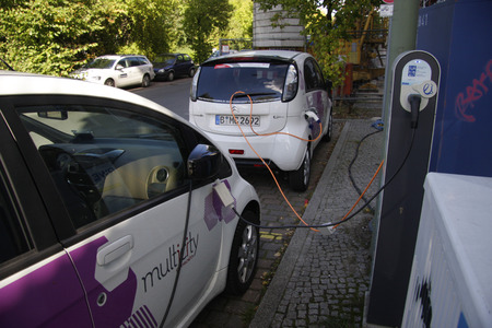 electric cars: September 2013 - BERLIN: recharging of electric cars of the carsharing company  Multi City  in Berlin.